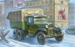 Picture art, car, create, army, Soviet, cargo, concept, WW2., option, high, patency, car, lorry, triaxial, GAZ-AAA, …