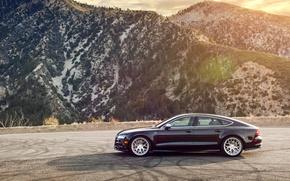 Picture mountains, Audi, Audi, black, wheels, side, black