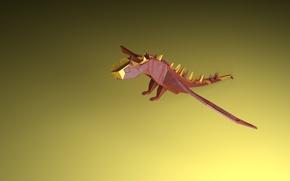 Picture dragon, Dragon, red dragon, low poly dragon, red dragon, low poly dragon