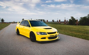 Picture turbo, wheels, mitsubishi, japan, jdm, tuning, lancer, evolution, evo, front, face, low, stance, yelow