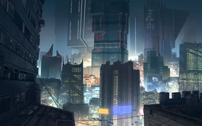 Picture night, the city, lights, skyscrapers, roof, megapolis, cyberpunk