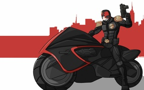 Picture gun, fiction, art, motorcycle, helmet, bike, Judge Dredd, Judge Dredd, Judge Joseph Dredd