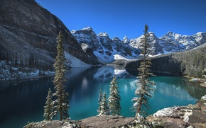 Picture forest, the sky, clouds, snow, trees, mountains, lake, rocks, Canada, Albert, Banff National Park, Moraine ...