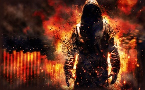 Picture fire, flame, smoke, being, the demon, Ghost, hood, hoodie