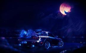 Picture car, dark, light, red, moon, white, black, blue, rx7, pink, cloud, machine, street, neon, wolf, …
