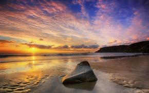 Picture sea, beach, the sky, shore, stone
