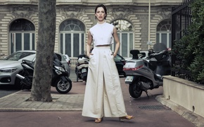 Picture auto, house, motorcycles, actress, brunette, yard, photographer, is, in white, posing, Rebecca Hall, Rebecca Hall, …