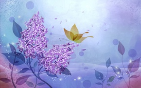 Picture butterfly, figure, petals, lilac