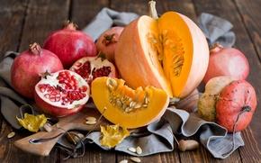 Picture autumn, leaves, pumpkin, fruit, still life, vegetables, grenades, Anna Verdina