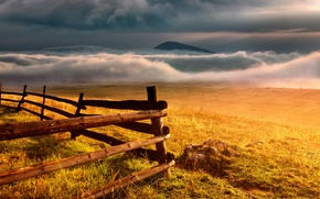 Picture landscape, mountains, the fence