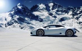 Picture Lamborghini, Snow, White, Side, Mountains, Supercar, Huracan, LP610-4