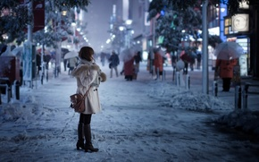 Picture girl, snow, the city, street, Tokyo, Snowy day
