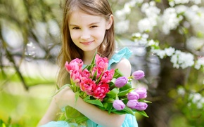 Picture child, spring, girl, tulips, girls, Little, Tulips
