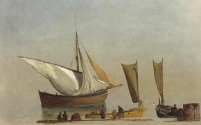 Picture shore, picture, sail, seascape, Albert Bierstadt, Fishing Boats