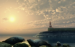 Wallpaper lighthouse, animals, landscape