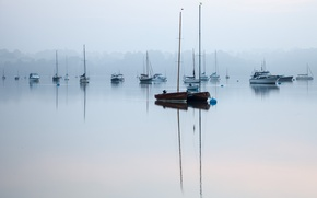 Picture fog, lake, silence, boats, morning, peace