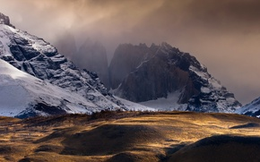 Picture light, gold, landscape, mountains, cold, chile, golden hour, dreamscape