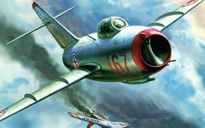 Picture figure, fighter, The MiG-15, Fagot, Nikolai, OKB Mikoyan and Gurevich, Sutyagin
