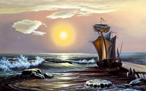 Picture sea, wave, the sky, the sun, boat, ship, painting