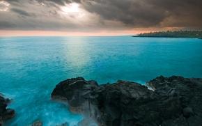 Picture sea, the sky, clouds, storm, rocks, Hawaii, houses, hawaii