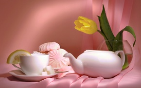 Wallpaper flowers, tea, Tulip, vase, still life, marshmallows
