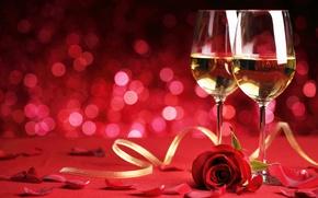 Picture romance, rose, glasses, flowers, romantic, Valentine`s day, Valentine's day