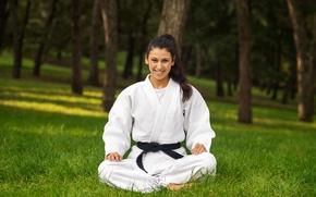Picture nature, sport, woman, color, master, kimono, beautiful, athlete, equipment, all, colors, bokeh, karate, martial art, …