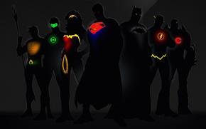 Picture glow, Wonder Woman, Batman, Green Lantern, Superman, superheroes, DC Comics, Cyborg, Flash, Aquaman