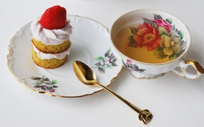 Picture cake, spoon, Cup, good morning, tea