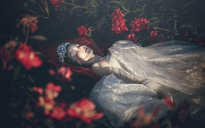 Picture girl, flowers, sleep, peonies, Last beam of light