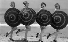 Picture Girls, Dance, Umbrella, Black and White
