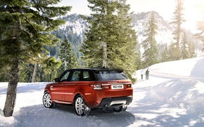 Picture winter, machine, snow, trees, mountains, Land Rover, Range Rover, Sport, range Rover
