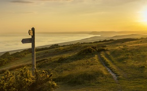 Picture sea, light, sunset, fog, West Dorset, Jurrassic Coast