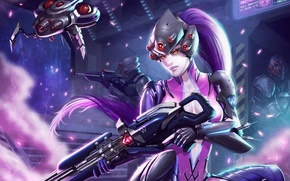 Picture weapons, art, Overwatch, Widowmaker, Widow, girl. look, Blizzard, fiction, costume