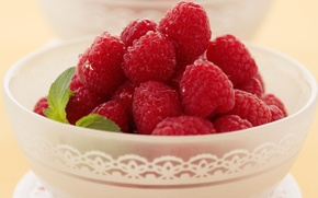 Picture berries, raspberry, leaf, food, plate, Cup