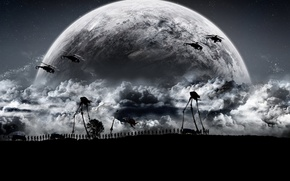 Picture dark, half-life, moon, army, troops