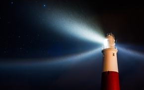 Picture stars, light, night, rain, Lighthouse