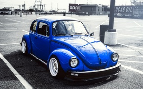 Picture beetle, blue, front, Volkswagen, Volkswagen Beetle