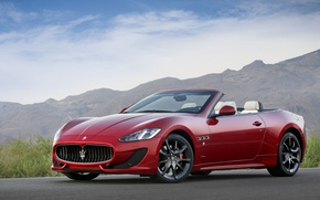 Picture Convertible, Car, Red, Machine, Cars, Red, Maserati, Sport, GranCabrio, Maserati, Sport, Car