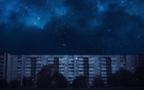Picture stars, trees, the building, Windows, House, the milky way, bolkon, nine