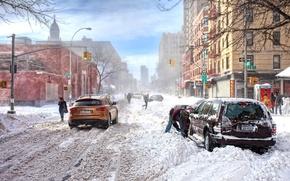 Wallpaper the snow, new york, USA, winter, storm, new York, Wallpaper, traffic light, Infiniti, infiniti, snow, ...