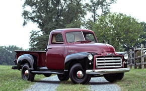 Picture road, trees, 150, classic, pickup, the front, 1950, GMC, Pickup
