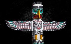 Picture background, bird, post, totem