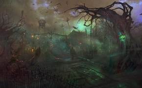 Picture birds, magic, people, art, lantern, cemetery, crows, chain, gloom, Dragon Knights