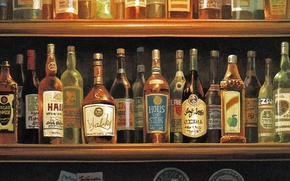Picture bar, glasses, bottle, a lot, shelves, alcohol, porco rosso, by hayao miyazaki