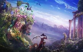 Picture landscape, birds, the city, lake, monster, plants, Hummingbird, art, Fox, ruins, guy, fantasy world, Zahid ...