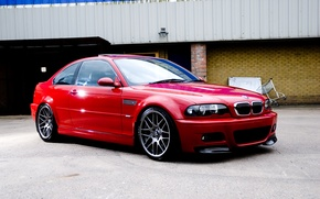 Picture red, the building, bmw, BMW, truck, red, e46, Chipiona wall, sports coupe