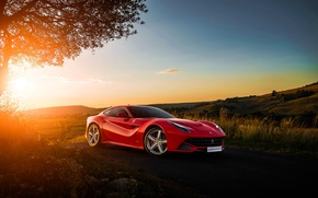 Picture Ferrari, Red, Sky, Front, Sunset, Africa, South, Supercar, Berlinetta, F12, Ligth