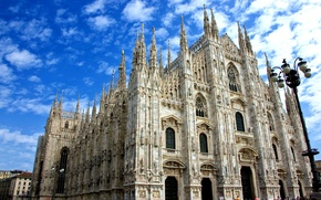 Picture the sky, clouds, Italy, Cathedral, Milan, Duomo
