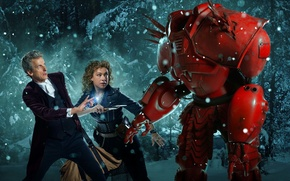 Picture winter, forest, snow, trees, woman, robot, Christmas, male, christmas, actors, Doctor Who, Doctor Who, Peter …